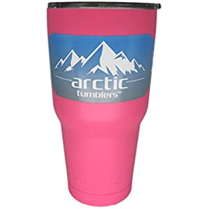 Arctic Tumblers 30 oz Cup Matte Pink Powder Coat - Stainless Steel Camping & Travel Tumbler - Splash Proof Lid - Double Wall Vacuum Insulated -30 oz Coffee Tumbler - Premium Insulated Thermos