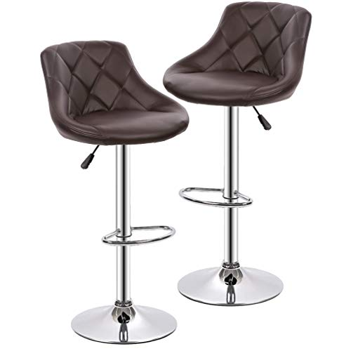 (Bar Stools Barstools Swivel Stool Set of 2 Height Adjustable Bar Chairs with Back PU Leather Swivel Bar Stool Kitchen Counter Stools Dining Chairs (Brown))
