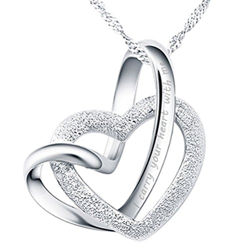 I carry your heart with me Love Heart Pendant Necklace Sterling Silver Women Fashion Jewelry from Latigerf