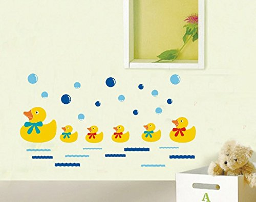 TOTOMO #W162 Duck Family Wall Decals Removable Wall Decor Decorative Painting Supplies & Wall Treatments Stickers for Girls Kids Living Room Bedroom
