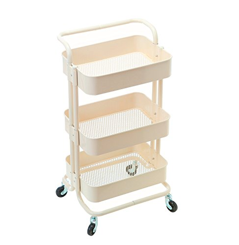 HollyHOME 3 Tier Rolling Cart Metal Utility Cart with Handles, Art Cart Bathroom Storage Cart Kitchen Organization, Anti-Rust Service Rack Rolling Shelf, Beige by HollyHOME