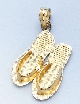 14k Gold Travel Necklace Charm Pendant, Turks & Caicos, Double Flip Flop Sandal