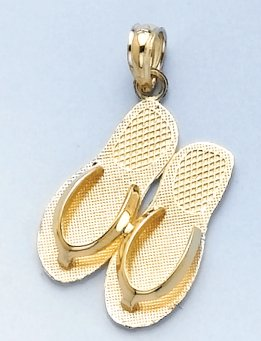 14k Gold Travel Necklace Charm Pendant, Turks & Caicos, Double Flip Flop Sandal by Million Charms