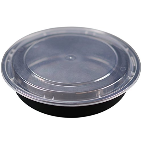 Deep Round Container (Simply Deliver 9-Inch Deep Round Container with Clear Lid, Microwavable, Black, 150-Count)