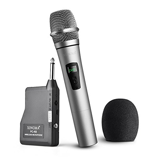 Yooson Wireless Microphone System, Rechargeable Dynamic Cordless Vocal Microphone with 6.35mm Plug Receiver for Karaoke, Party, Wedding, Churching, Stage Performance, Presentation and More (Silver)
