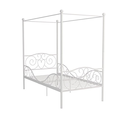 Dhp canopy metal bed frame twin size white for White metal twin bed frame