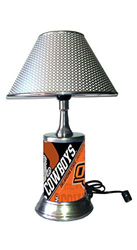 - Rico Table Lamp with chrome shade, Oklahoma State Cowboys plate rolled in on the lamp base