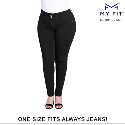 (My Fit Jeans- SIZE 14-20 BLACK: Women's Stretch Denim Jeans with Pockets and the Comfort of Leggings, Petite through Plus Size)