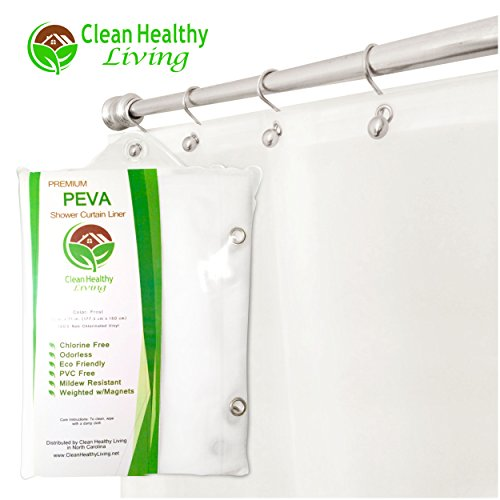 Premium PEVA Shower Liner / Curtain: Odorless & Mildew Resistant (with Magnets & Suction Cups). Eco Friendly 70 x 71 in. long - Frost Color (Shower Curtain Liners Colored)