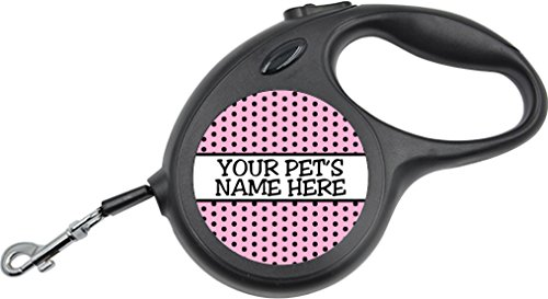 Custom Retractable Pet Leash w/ Polka Dots Personalized for Your Pet (Small, Pink)