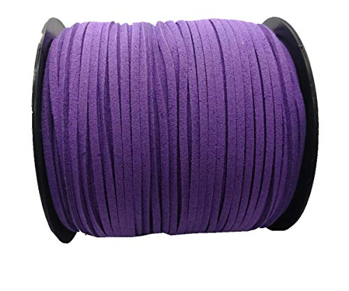 (Pamir Tong Strong Suede Leather Lace 100 Yards 2.6mm Faux Leather Cord for Jewelry Making Tassels Bracelet Necklace DIY (Purple))