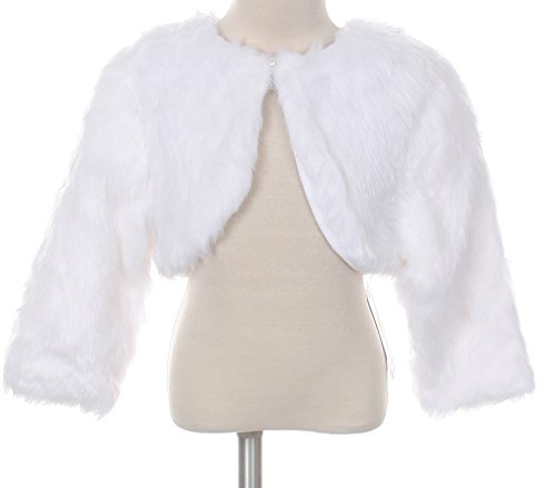White Faux Fur Pearl Button Special Occasion Shrug Match Flower Girls Dress Size