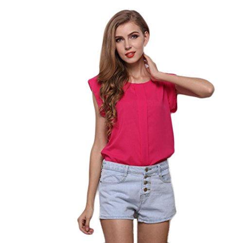 UOKNICE T Shirts for Women Graphic,Summer O-Neck Sleeveless Pure Color Vest Chiffon T-Shirt Blouse Summer Ruffle Trim Neckline Tank Tops Double Lined Floral Shirts Pink