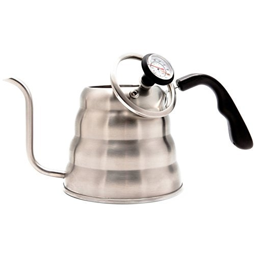 Ol' Blue Pour Over Coffee Kettle 40 fl oz (1.2L) - Thermometer for Perfect Brewing Temperature - 18/8 Quality Stainless Steel - Gooseneck Spout - Fitted Glass Lid - Safe for Any Stovetop