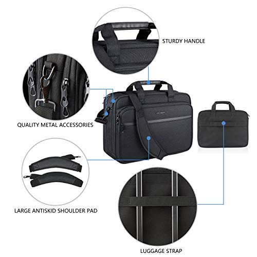 "KROSER 18"" Laptop Bag Premium Laptop Briefcase Fits Up to 17.3 Inch Laptop Expandable Water-Repellent Shoulder Messenger Bag Computer Bag with RFID Pockets for Travel/Business/School/Men/Women-Black"
