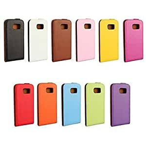 HJZ Flip-Open Solid Color Pattern Genuine Leather Full Body Case for Samsung Galaxy S6 (Assorted Colors) , Black