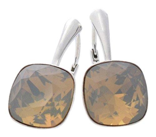 Light Grey Opal Swarovski Crystal - Beforya Paris - Diamond's Depth - Earrings 925 Silver - Light Grey Opal - Crystals From Swarovski - 925 Sterling Silver for Woman - Earrings with Gift Box