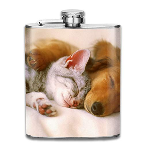 Laki-co Dog Puppy Cat Kitten Cute Pet Hip Flask for Liquor Stainless Steel Bottle Alcohol -