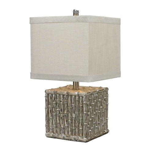 Decorativos iluminación 112–1119cuadrado (bambú) lámpara de mesa, Silver Leaf