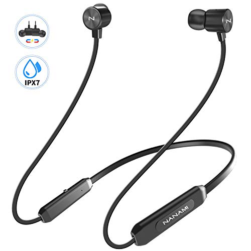 Bluetooth Headphones,NANAMI Bluetooth 5.0 Wireless Earbuds IPX7 Waterproof Sports in-Ear Earphones w/Mic,HiFi Stereo Deep Bass Headsets,Magnetic Neckband 10 Hours Playback for Gym Workout (Earphone Magnetic)