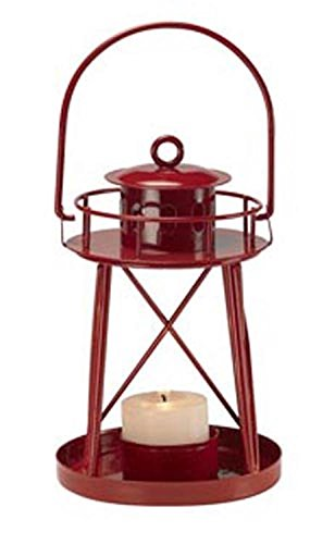 Biedermann-Sons-Lighthouse-Tealight-Lantern-Red