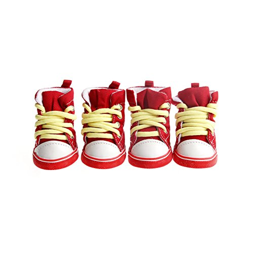 Tangc PCS Pet Dog Cats Denim Shoes Puppy Casual Anti-slip Boots Sneaker Shoes Booties (2, red)