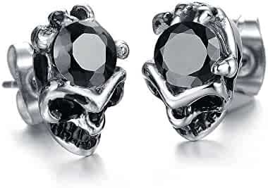 01d4ee36b Stylish Skulls Diamond Domineering Titanium Steel Men's Earrings