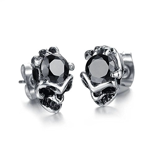 Stylish Skulls diamond domineering titanium steel men's earrings - Diamond Titanium Earrings