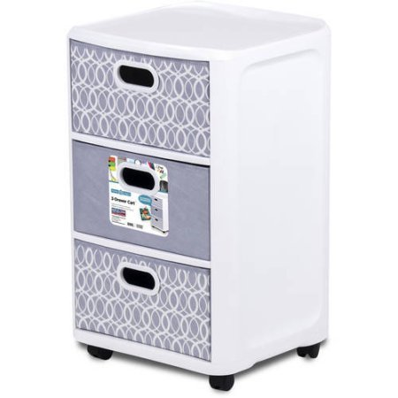 Hefty 3 Equal Sized Fabric Drawer White Cart with Grey Lattice Blue Drawers, 1 Side with Pattern, 1 Side Solid (Mirror Chester Drawers Furniture)