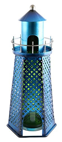 - Wine Bodies Aquatic High Nautical Themed Metallic Blue Lighthouse Wine Bottle Holder Caddy Bar Accessory Home Decor Kitchen Display Centerpiece