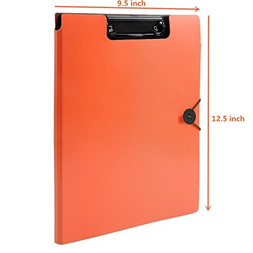 Clipboard Folder File Padfolio Clipboard Storage, Kakbpe Bussiness Letter Size Padfolio with Refillable Notepads, Give a Total of 100 Note Page Markers in Five Colors-Orange, Letter Size Photo #2