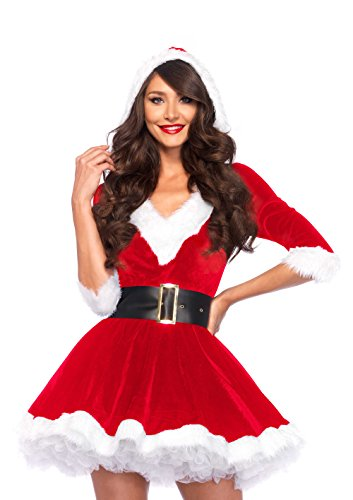Elf Christmas Costumes (Leg Avenue Women's 2 Piece Mrs. Claus Costume, Red/White, Small/Medium)