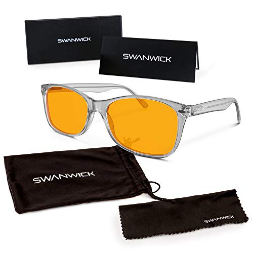 Swannies Premium Blue Light Blocking Glasses for Better Sleep and Eye Strain Relief for Computer Games, Reading or TV Screens - (Diamond) Regular