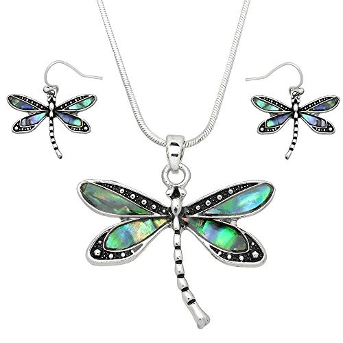 Liavy's Dragonfly Charm Pendant Fashionable Necklace & Earrings Set - Abalone Paua Shell - Fish Hook - 17