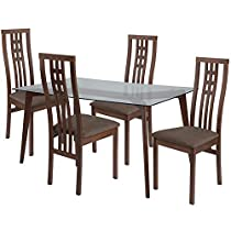 Offex OFX-466833-FF 5 Piece Walnut Wood Dining Table Set with Glass Top and High Triple Window Pane Back Wood Dining Chairs