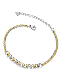 Stainless Steel Two-Row Anklet Bracelet with Charms of Balls Gold and Silver(CA)