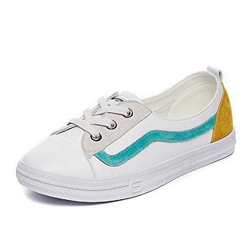 NGRDX&G Zapatos Blancos Zapatos Femeninos Solos Zapatos De Deporte Casual Mujer Estudiante Femenino White Yellow