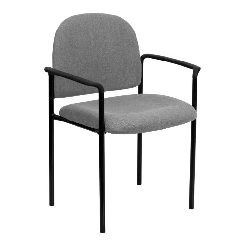 MFO Gray Fabric Comfortable Stackable Steel Side Chair with Arms