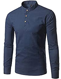 Men's Henley Neck Cotton Long Sleeve Slim Fit Band Collar Shirts