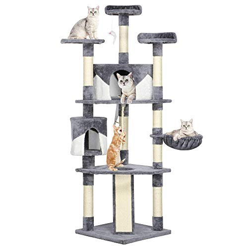 Yaheetech 79' Multi-Level Cat Trees with Sisal-Covered Scratching Posts, Plush Perches and Condo for Kittens, Cats and Pets (Gray and White)