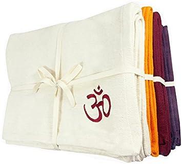 Manta de Yoga 100% algodón Bio 150 cm x 200 cm, ciruela ...