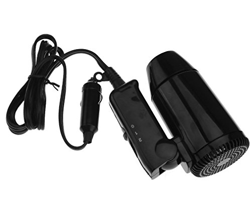 Micro Trader Small 12V Black Compact Travelling Festival & Camping Portable In Car Hair Dryer (Blow Dryer Battery Operated)