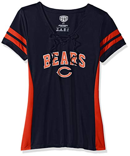 OTS NFL Chicago Bears Women's Poly Lace Up V-Neck Tee, Weber, Large