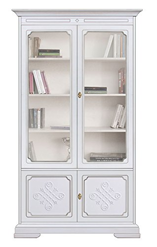 Libreria vetrina in legno 4 ante con fregio di artigianato ...