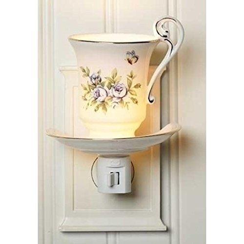 Ivory Teacup With Blue Rose Florals 4.25 x 5.5 Porcelain Plug-In Nightlight