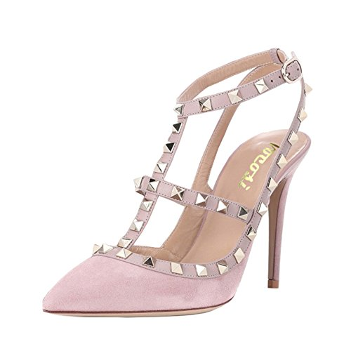 VOCOSI Women's Slingbacks Strappy Sandals for Dress,Pointy Toe Studs High Heels Sandals Shoes S-Pink 5.5 US