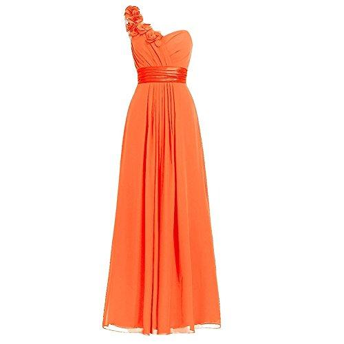H.S.D Women's Simple Floral One Shoulder Long Bridesmaid Dresses Prom Gowns Orange