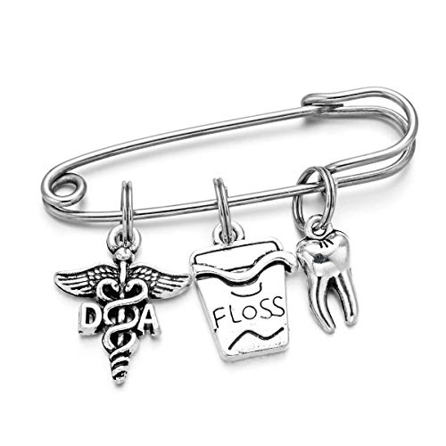 DYJELWD Dental Assistant DA Pin Dentist Medical Caduceus Charms Brooch Birthday Graduation Jewelry Gifts (DA Pin)