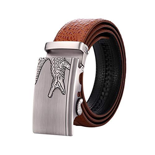 Men Belts Luxury Crocodile Alligator Designer Automatic Belt Buckle Real Cowhide Jeans ()