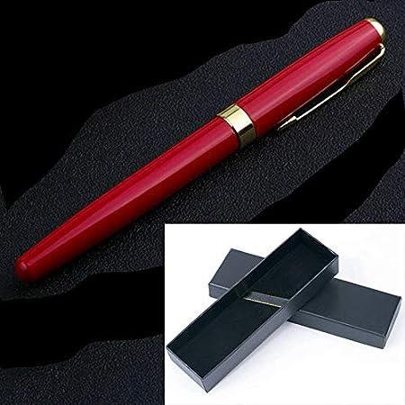 Pluma estilográfica de 1 mm con punta media y caja de regalo para escribir, rojo